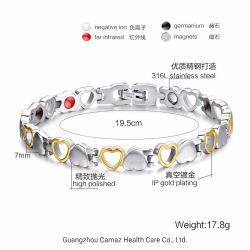 Bio terapêutico em aço inoxidável de Titânio Magnético Power Band bracelete de energia