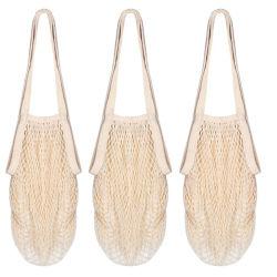 Bolsa de malla de algodón orgánico Compras Cadena Tote Net reutilizables tejida Bolsa de compras
