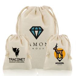 Personalizado de reciclado de polvo de algodón orgánico Bolsa Bolsa Bolsa de tela joyas Cordón Cordón Joyería bolsas Bolsa Zapata