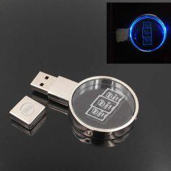Neues Produkt 2019 Runde Kristall Acryl LED Licht Flash-Laufwerk USB-Memory Stick 8GB 16 GB 32GB mit benutzerdefinierter Logo