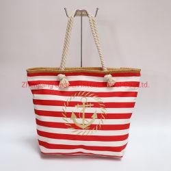 L'OEM ha personalizzato i sacchetti di nylon del cavo del Tote di acquisto della spiaggia di corsa del cotone del ricamo dell'oro stampati bande rosse