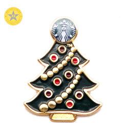 Chapado en plata brillante Oil-Filled personalizado insignia de solapa de Navidad