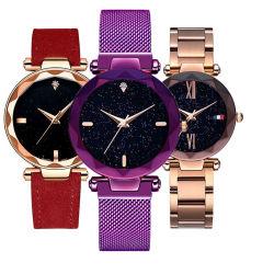 Nueva llegada de la banda de acero inoxidable de la cara de Estrella de la moda damas relojes de regalo personalizado #V895