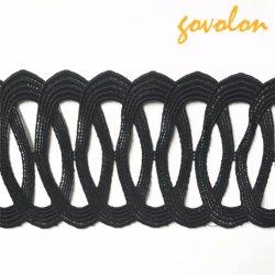 Décor de garniture de polyester creuses noir pour vêtement