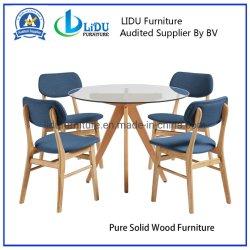 El mejor precio transparente de vidrio café redonda mesa de comedor con las piernas de madera juego de comedor de madera maciza pura