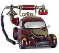 Retro Vintage de resina teléfono modelo de coche retro de resina de color rojo con cable teléfono rotativa para el hogar