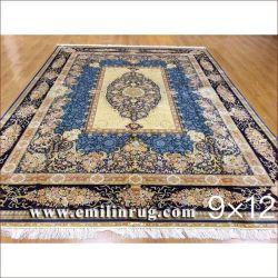 9X12 Azul Gran Sala de estar hechos a mano alfombras orientales anudadas a mano 100% seda Alfombras Persas