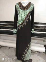 Popular hielo Seda musulmán africano manga larga Drilling Abaya vestido