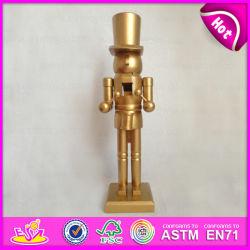 2015 Casse-Noisette jouet en bois de couleur dorée, Soldat de bois Casse-noisette cadeau de promotion, bon marché de petits jouets en bois Cadeaux promotion W02A072A