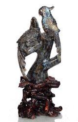 Oiseau naturelles Parrot Crystal sculptés Sculpture de Pierre Labradorite Home Decor AJ51