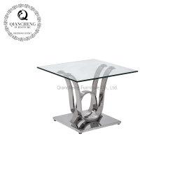 Cadre de couleur argent miroir Table latérales en verre