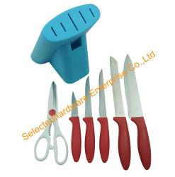 7-stuk het Mes van de Keuken van het Roestvrij staal dat in het Handvat van de Rode Kleur wordt geplaatst