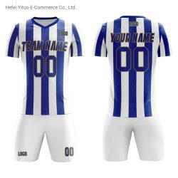Logo de style unique numéro du nom de tee-shirts personnalisés respirante rayé Soccer Jerseys