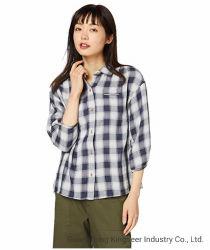 女性の新しい方法の長袖綿の生地は縞されたプレイドチェック 女性のためのギンガムの偶然ワイシャツのブラウスの服装