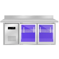 Edelstahl-Gefriermaschine u. Kühlraum mit Glastür