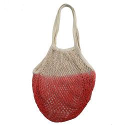 100% cotone Women DIP Dye Colour maglia pacchetto stringa in mesh Borse per la spesa