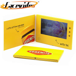 Оптовая торговля обложек бумага прогулочных судов 7 дюймовый ЖК-экран желтый цифровой брошюры на день рождения праздник видео карта