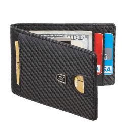 2019 homens de couro da carteira de bloqueio de RFID Thin Bolso frontal fino minimalista carteira com dinheiro de metal encaixar