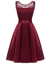 Mesdames Robe d'été pour le parti col rond sans manches creux imprimée robe de soirée robe élégante Bownot
