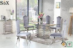 Louis Eettafel met het Dineren het Zwarte Roestvrij staal Moden Luxry van de Stoel (CY213C die) wordt geplaatst