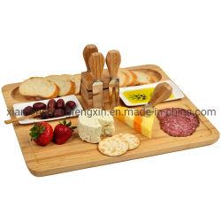 고품질 사각형 모양 대나무 치즈 보드, 4개의 칼 도구, 2개의 크레amic 용기 및 자기 홀더