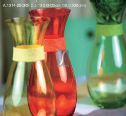 Hand durchgebrannter transparente Blumen-Glasvase/Kristallvase (1314)