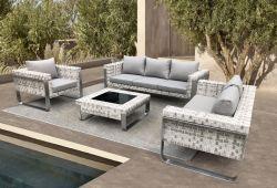 現代人工的な藤の柳細工の屋外のEcoの庭の余暇のテラスのソファーの家具