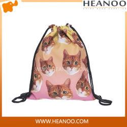方法メスの女の子の動物のカートンの印刷のドローストリング学生袋のバックパック