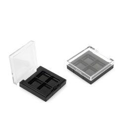 Cassa vuota di plastica piana dell'ombretto di rettangolo nero libero dei 4 fori per l'imballaggio cosmetico