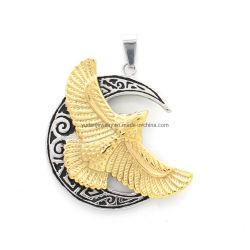 Grossista personalizado aço inoxidável Eagle Moon Pendant