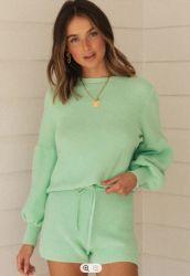 Zweiteiliges Strickpullover und Shorts Lantern Sleeve Damen Sweatshirt Setzen