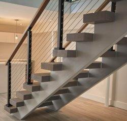 Villa Piscina Aço Dupla Stringer escadas de madeira escadas para a Grade de cabo
