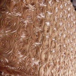 Round Acetinado Champanhe Rose Rosete Roupa de mesa pano para o casamento