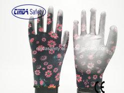 Poliéster com impressões de flores coloridas, PU (poliuretano) Revestidos, luvas de trabalho