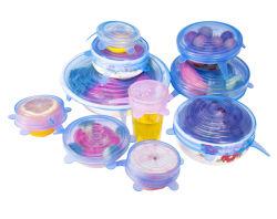7cm/10cm/12.5cm/15cm/17.5cm/20cm/23cm/25cm 유연한 재사용할 수 있는 음식 급료 BPA는 실리콘 뻗기 흡입 뚜껑을 해방한다