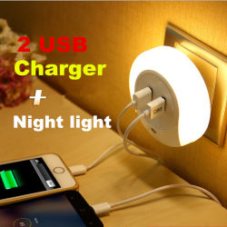 Мини-творческих датчик движения двойной индикатор зарядного устройства USB ночное освещение
