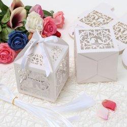 OEM Pearl Parti de papier découpé au laser faveur de mariage des boîtes de bonbons de ruban boîte cadeau de grande taille pour mariage ##FB01