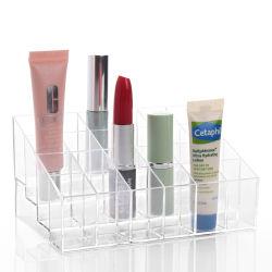Organizador de la barra de labios de acrílico y belleza 24 contenedores de almacenamiento el espacio