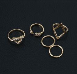 Un insieme unito di cristallo dell'anello del chiodo dell'articolazione delle donne della Boemia dell'annata del regalo punk dell'anello dei 5 di PCS anelli di barretta (ESG11104)