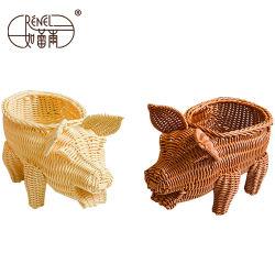 Приятный дизайн свиней из ротанга гайку и конфеты корзины