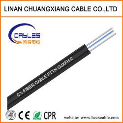 Câble de descente FTTH Câble à fibre optique de modèle unique de 1 à 4 coeurs Gjyfxch Communication câble plat du fil en acier LSZH