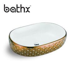 Commerce de gros trou ovale de comptoir aucun robinet Salle de bains en marbre de la nature de la vanité de pierre lavabos de couleur