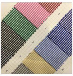 Llanura de sarga camisa a cuadros de prendas de vestir 100% poliéster teñido de tejido textil hogar ropa de tela