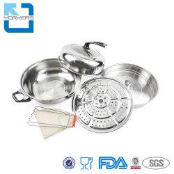 La olla caliente chino vaporera de acero inoxidable olla Stock