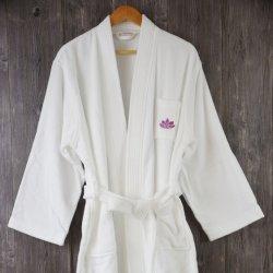 Kundenspezifische Baumwollvelour BADEKURORT Robe und Hotel-Bademantel mit Stickerei-Firmenzeichen