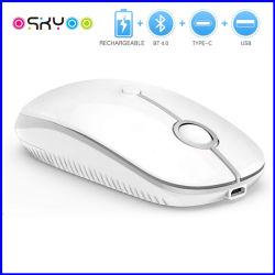 유형 C USB 재충전용 가는 연약한 피부 무선 Bluetooth 마우스