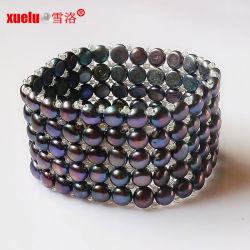 5 рядов эластичные черный плоская форма моды культурной жемчужиной браслет украшения
