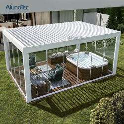 방수 알루미늄 작동 가능한 미늘창 지붕을%s 가진 전망대에 의하여 자동화되는 정원 옥외 생물 기후 Pergola