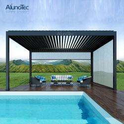 L'aluminium étanche persiennes de jardin de toit motorisé Outdoor Gazebo Pergola avec le côté écran ou voyant LED