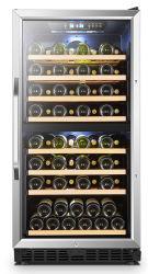72 Garrafas Professional Compact Zona Dupla Compressor Refrigerador de vinho com camada dupla porta de vidro